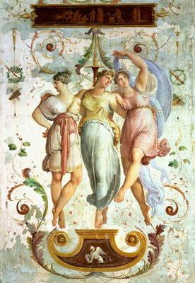 Decorative panel with dancers (fresco) 19th
