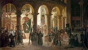 Godfrey of Bouillon (c.1060-1100) Depositing the Trophies of Askalon in the Holy Sepulchre Church, A 1839
