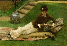 The Novel, A Lady in a Garden reading a book A Lady in