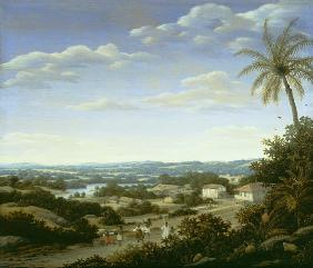 Brazilian landscape with natives on a road approaching a village 1665