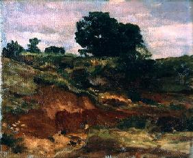Sketch for a landscape, 'View in Bedfordshire', c.1890 (oil on canvas) 18th