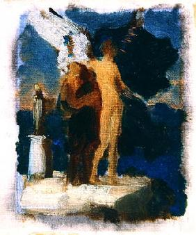 Sketch for 'Daedalus and Icarus', c.1869 (oil on canvas) 1876