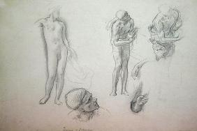 Studies for 'Daedalus and Icarus', c.1868-69 (oil on canvas) 1876