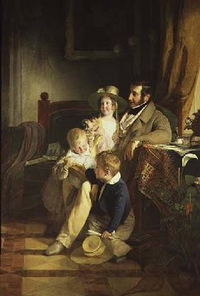Rudolf von Athaber (1795-1867), industrialist and patron of the arts, with his children