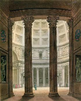 Interior of the Pantheon, Rome, from 'Le Costume Ancien et Moderne' by Jules Ferrario, engraved by G 19th