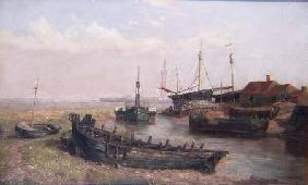 The Mouth of the River Freshney, near Grimsby, Lincolnshire 1874