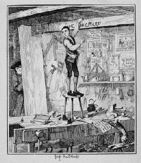Jack carves his name on a beam in the shop of his former employer, illustration from 'Jack Sheppard: 1865
