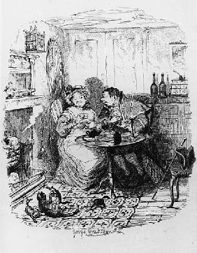 Mr Bumble and Mrs Corney taking tea, from ''The Adventures of Oliver Twist'' Charles Dickens (1812-7