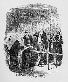 Oliver escapes being bound apprentice to the sweep, from ''The Adventures of Oliver Twist'' Charles
