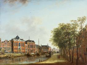 View of the Kloveniersburgwal in Amsterdam, with the Waag, and barge moored in the front of Trippenh 1685