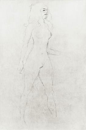 Standing Nude (verso), cil on