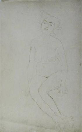 Nude Woman Seated c.1903 cil