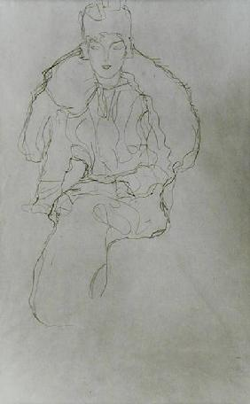 Seated Woman with Fur Wrap and Headdress 1917-18 ci