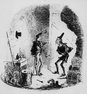 Nicholas instructs Smike in the art of acting, illustration from `Nicholas Nickleby'' Charles Dicken