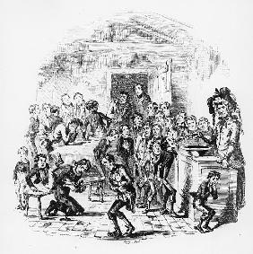 The internal economy of Dotheboys Hall, illustration from `Nicholas Nickleby'' Charles Dickens (1812