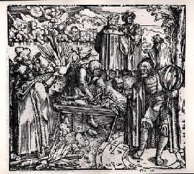 Scenes of divination, including haruspication, pyromancy and necromancy (engraving) (b/w photo) 1601