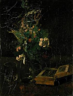 Still Life with a Bunch of Flowers and a Bible 1872