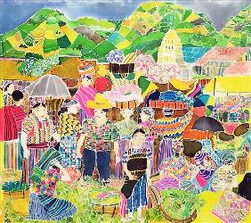 Almolonga Market (coloured inks on silk)