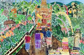 Procession, Peliatan, Bali, 1996 (coloured inks on silk)