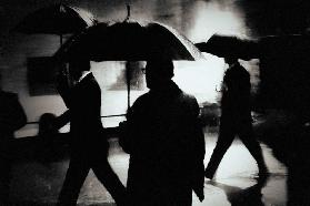 Men in the rain