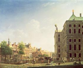 A View along the Nieuwezijds Voorburgwal in Amsterdam showing the back of the Royal Palace 1782