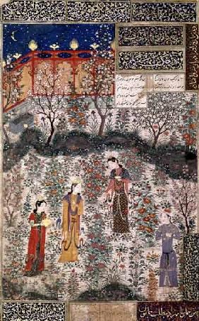 The Persian Prince Humay Meeting the Chinese Princess Humayun in a Garden c.1450