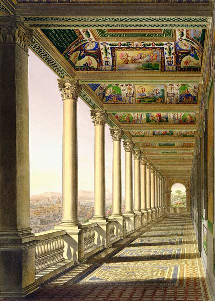 View of the third floor Loggia at the Vatican, with decoration by Raphael, from 'Delle Loggie di Raf published