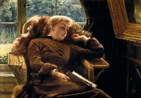 Reverie: Mrs.Newton reclining in a chair 19. Jh