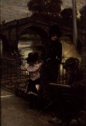 Portrait of the Artist with Mrs.Kathleen Newton and her niece, Lilian Hervey, by the Thames at Richm c.1878-9
