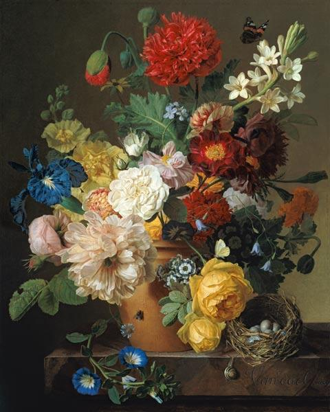 Flower Still Life on a marble ledge 1800-01