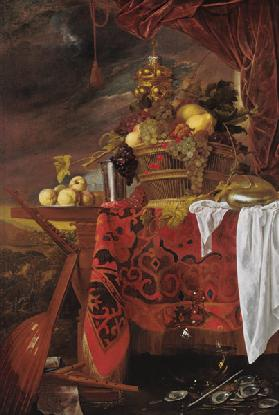Still Life with Basket of Fruit and Landscape beyond c.1643