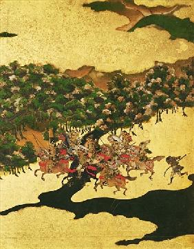Battle of Hogen in 1156, Momoyama Period (1568-1615) (ink on paper)