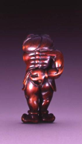 Netsuke of an Oni wearing a tiger-skin loincloth, Edo c.1770-90