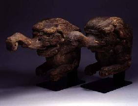 Pair of Baku Gargoyle Beam Ends, early Edo Period