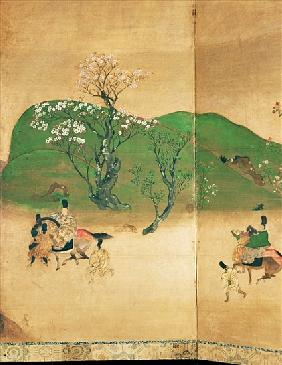 Shogun touring in spring, Edo Period (1603-1867) (ink on paper)