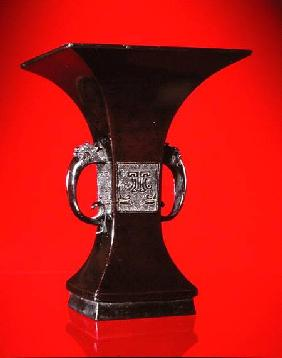 Square vase with flaring neck