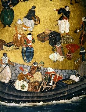 The Arrival of the Portuguese in Japan, detail of unloading merchandise, from a Namban Byobu screen,