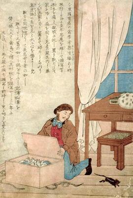 JJ Audubon (1785-1851) on a trip to Japan disovers a rat, c.1840 (w/c on paper) 19th
