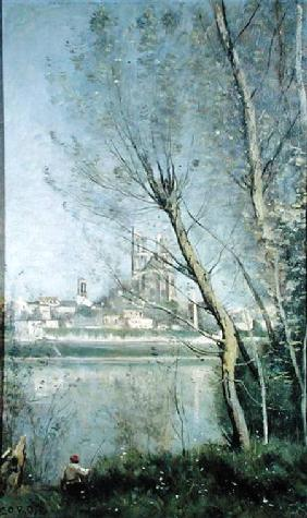 Mantes, View of the Cathedral and Town through the Trees c.1865-70