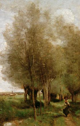 Corot / Peasant woman in field / Oil