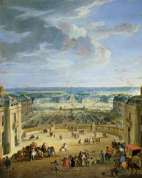Perspective View from the Chateau of Versailles of the Place d'Armes and the Stables 1688