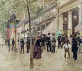 The Boulevard Montmartre and the Theatre des Varietes, c.1886 (oil on canvas) 1843