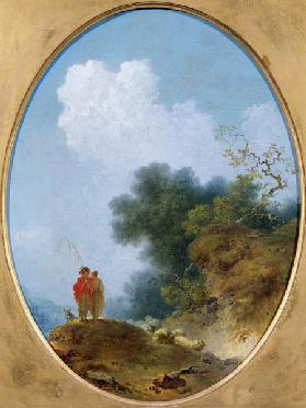 A Shepherd Playing the Flute Whilst a Peasant Girl Listens 1765