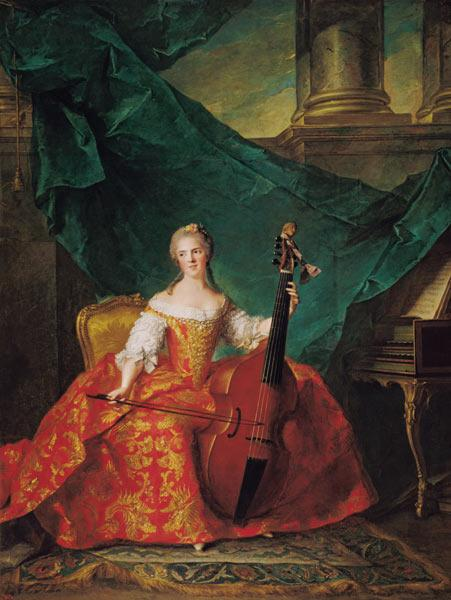 Madame Henriette de France (1727-52) in Court Costume Playing a Bass Viol 1754
