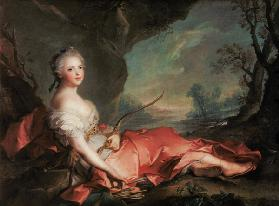 Portrait of Maria Adelaide of France, daughter of Louis XV dressed as Diana 1745