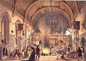 Banquet in the baronial hall, Penshurst Place, Kent, from 'Architecture in the Middle Ages' 1838