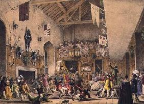 Twelfth Night Revels in the Great Hall, Haddon Hall, Derbyshire, from 'Architecture of the Middle Ag 1838