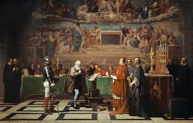 Galileo Galilei vor der Inquisition im Vatikan 1632. 1847