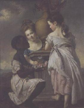 A Conversation between Girls, or Two Girls with their Black Servant 1770