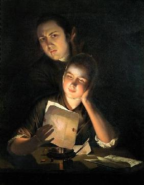 A Girl reading a letter by Candlelight, with a Young Man peering over her shoulder c.1760-2